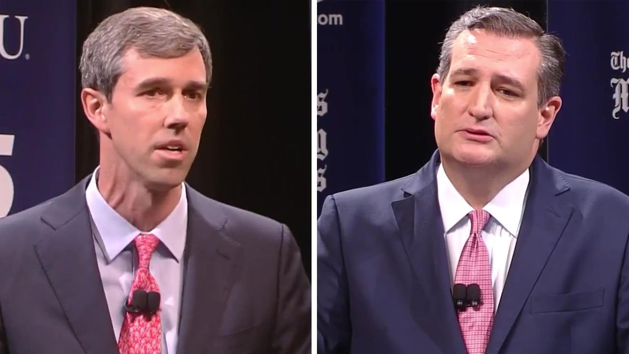 Democrat Beto O'Rourke (left) and Republican incumbent Ted Cruz at their first Senate campaign debate in Dallas on September 21, 2018. (NBC News)
