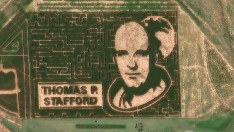 A corn maze in Hydro, Oklahoma, honors NASA astronaut Thomas Stafford. (Facebook/Stafford Air & Space Museum)