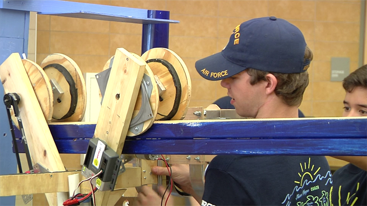 Students test out their robots (KTEN)
