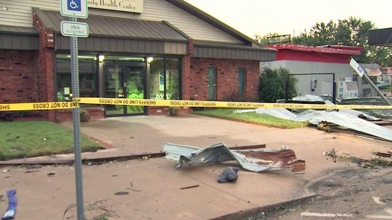A tornado caused damage in Fairfax, Oklahoma, on October 8, 2018. (KOKI via CNN)