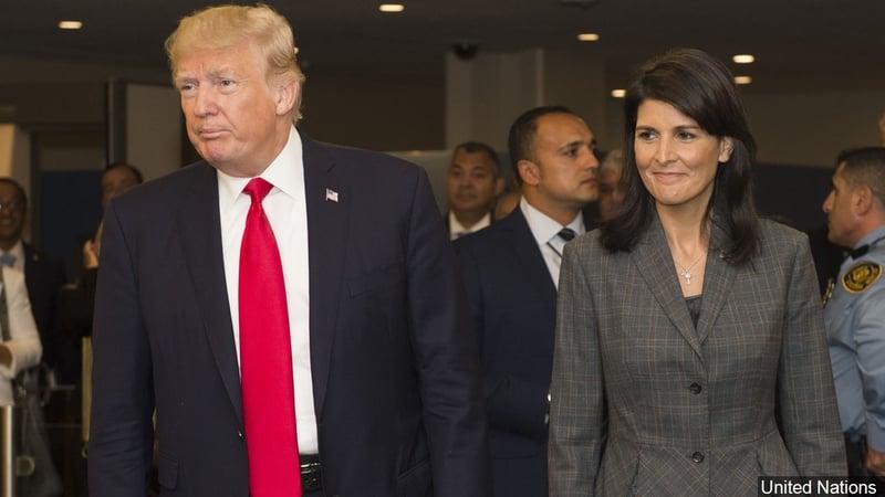 President Trump with U.N. Ambassador Nikki Haley. (United Nations photo)