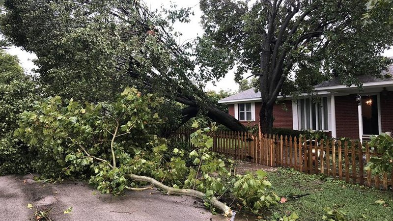 A powerful storm damaged buildings and trees in Marietta on October 9, 2018. (KTEN)
