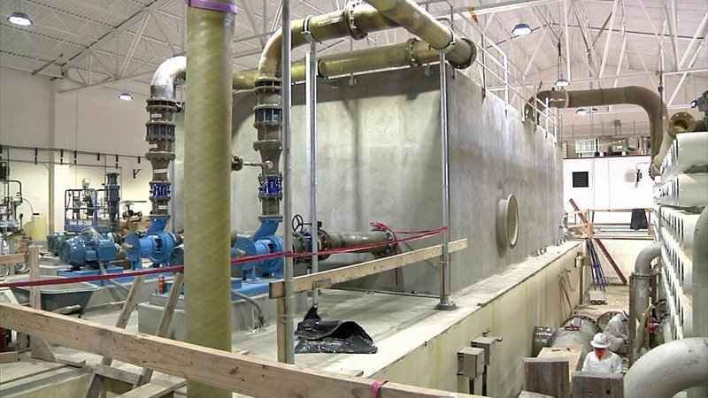 Work is nearing completion on Sherman's water plant expansion. (KTEN)
