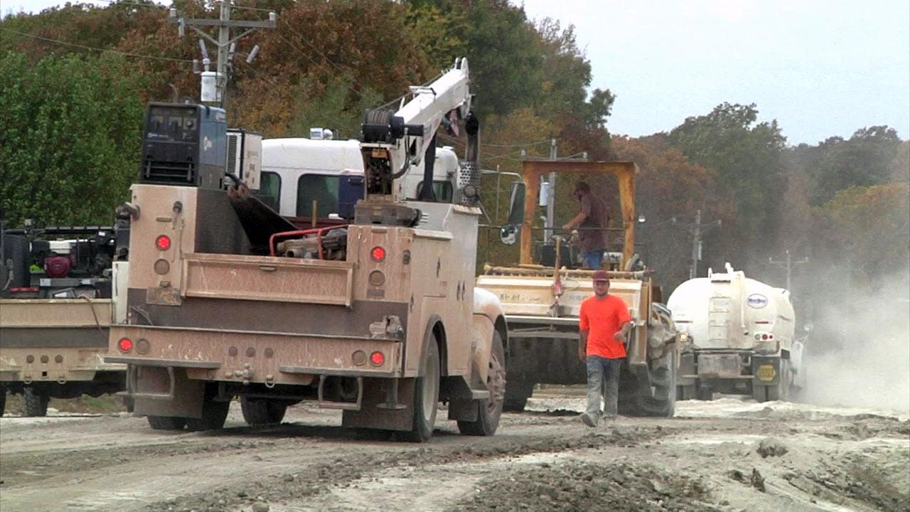 Repairs are underway on County Road 1570 near Ada. (KTEN)