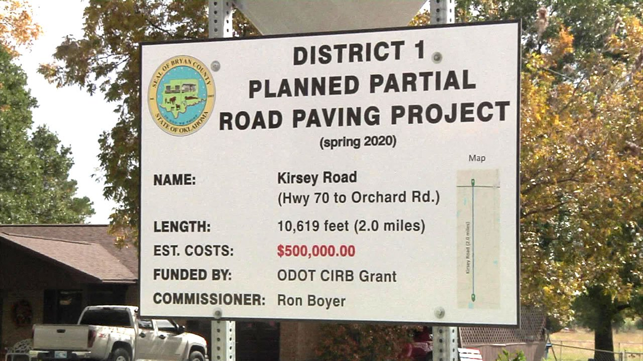 New signs detail planned Bryan County road projects. (KTEN)