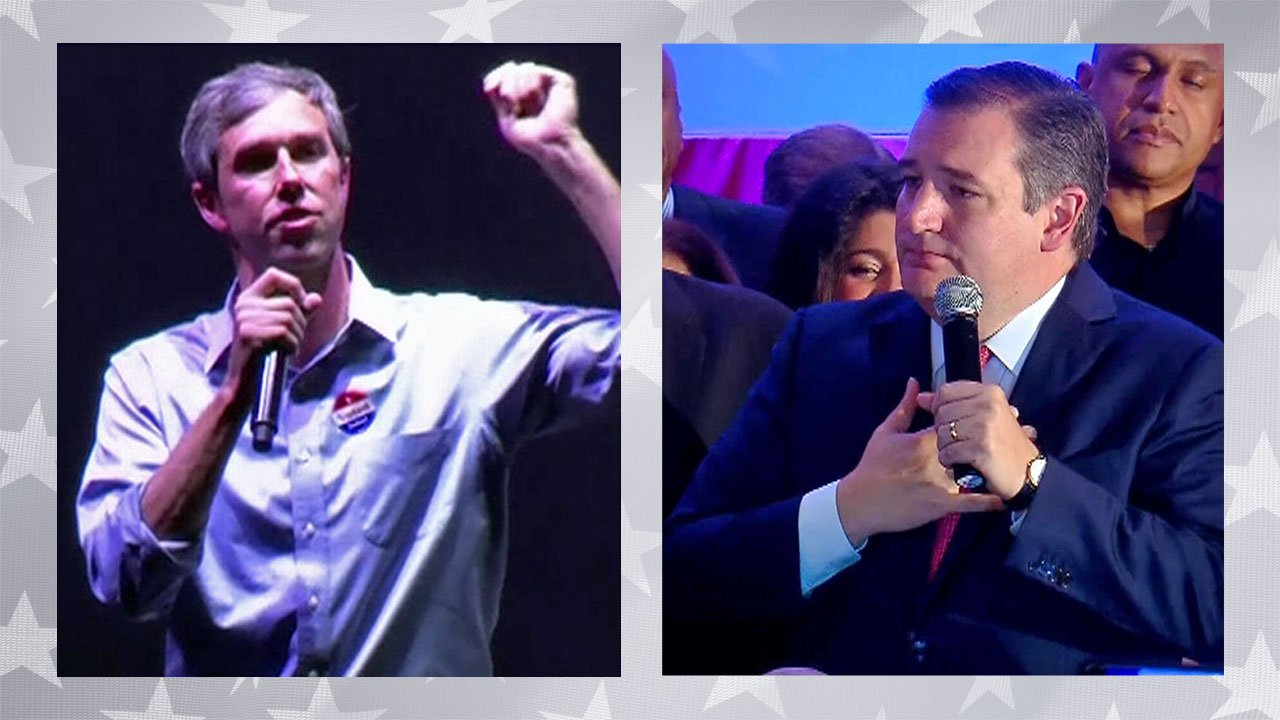 Beto O'Rourke (left) and Ted Cruz speak to their supporters on Election Night, November 6, 2018. (CNN)