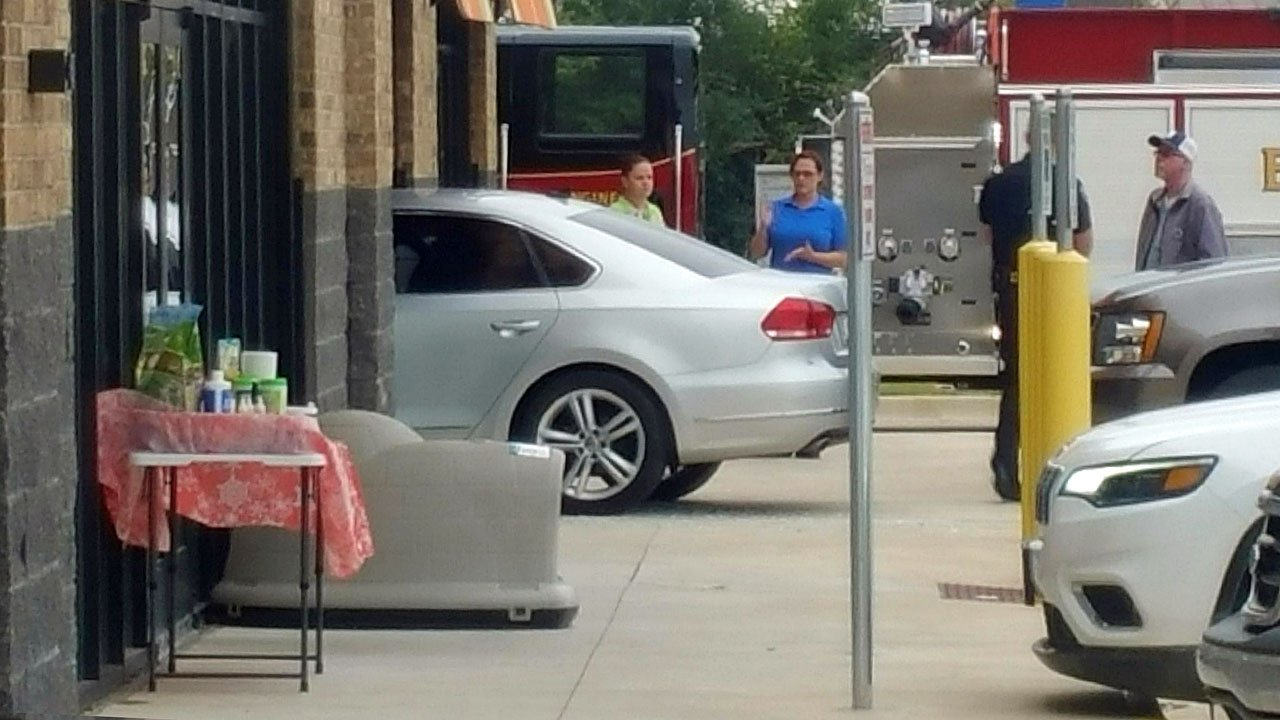 A car crashed into the Jimmy's Egg restaurant in Durant on November 8, 2018. (Courtesy)
