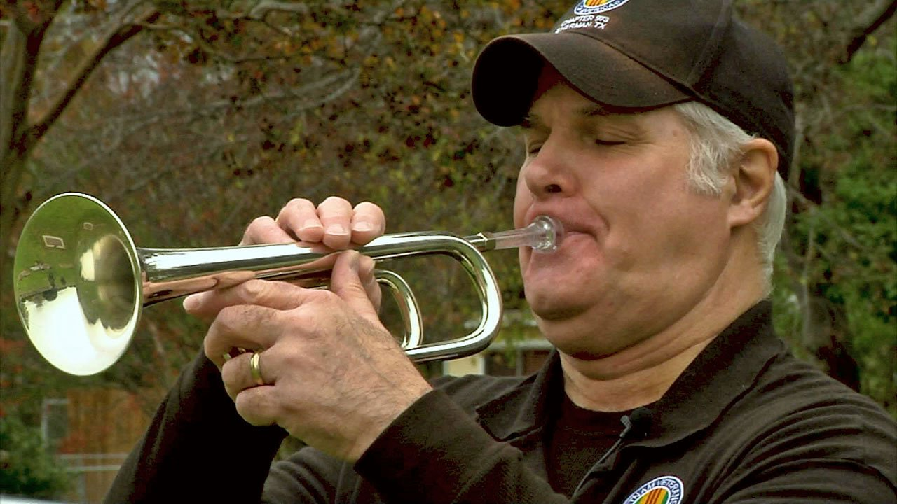 David Pedigo performs Taps at military ceremonies across Texoma. (KTEN)