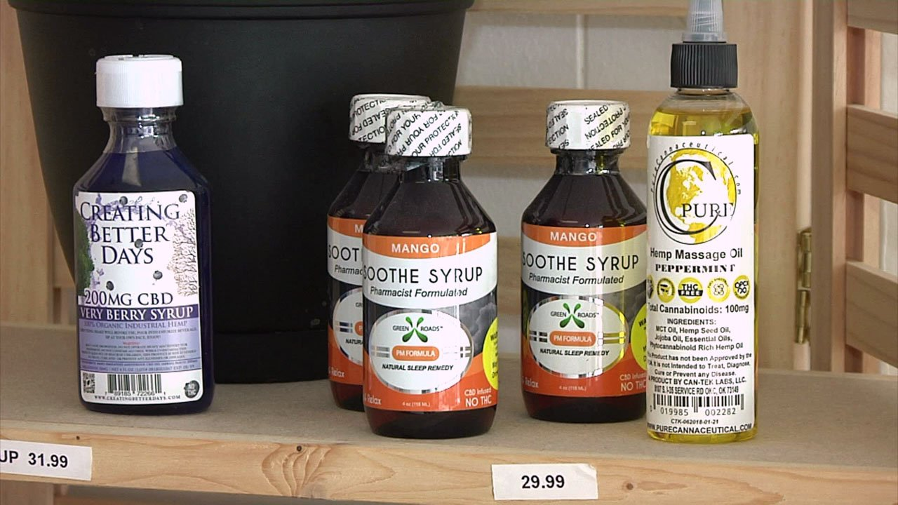 CBD-based products at The Remedy in Durant. (KTEN)