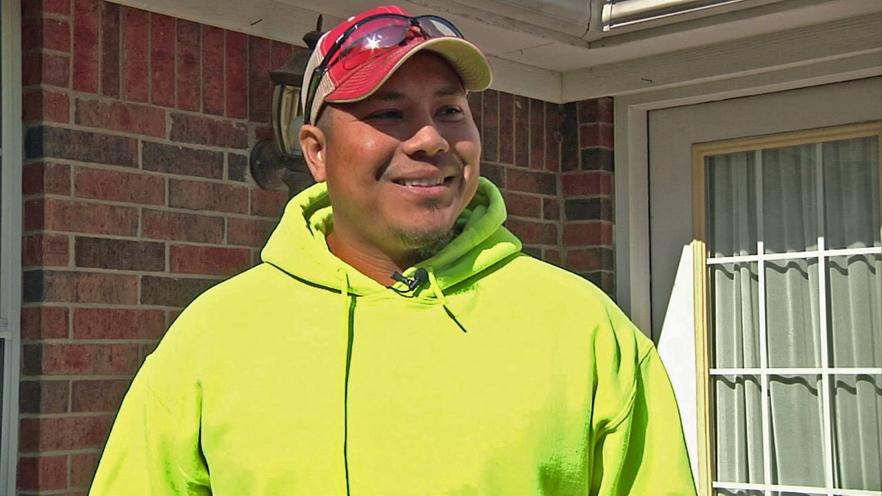 Sherman landscape business owner Juan Carrillo is a proud new U.S. citizen. (KTEN)