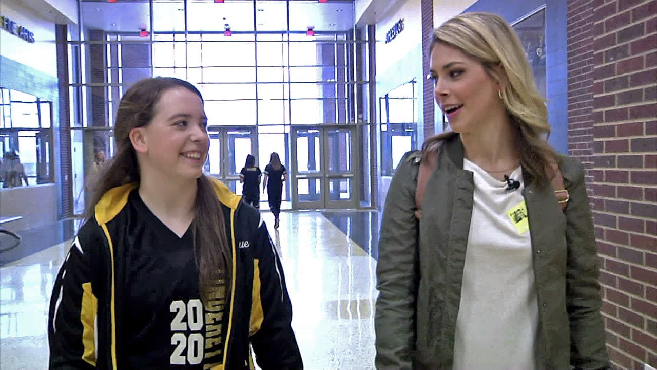 Denison High School junior Jacque Matthews guides KTEN's Emily Akins around campus. (KTEN)