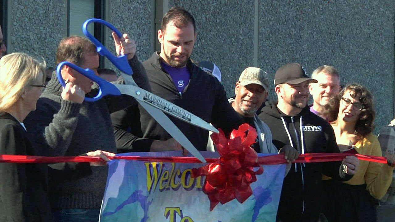 The ceremonial opening of the Stryve Biltong facility in Madill on November 15, 2018. (KTEN)