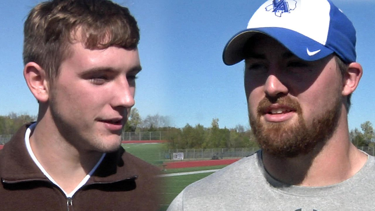 Justin (left) and brother Jordan Barnes play key roles on the Van Alstyne Panthers football team. (KTEN)