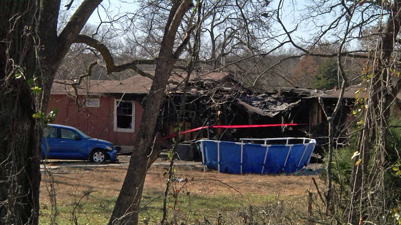 Fire heavily damaged this residence in Dickson, Oklahoma, on November 26, 2018. (KTEN)