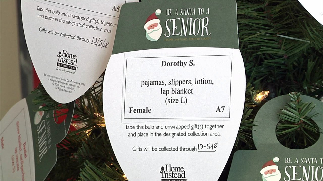 "Gift requests from seniors are printed on ""ornaments."" (KTEN)"