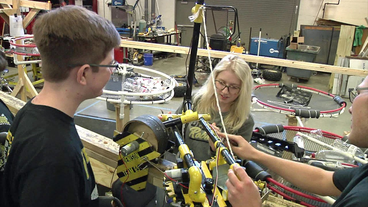 The Denison High School robotics team gets ready for the state championships. (KTEN)