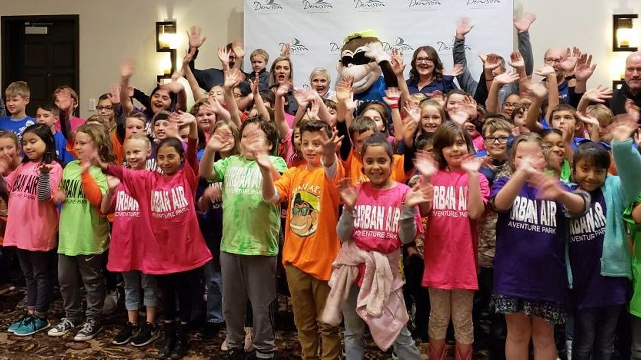 Denison elementary students were at the Urban Air announcement on November 29, 2018. (KTEN)
