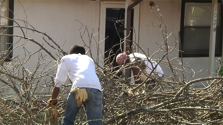 Friends and family help a Tishomingo couple after a Friday night storm destroys their home (KTEN)