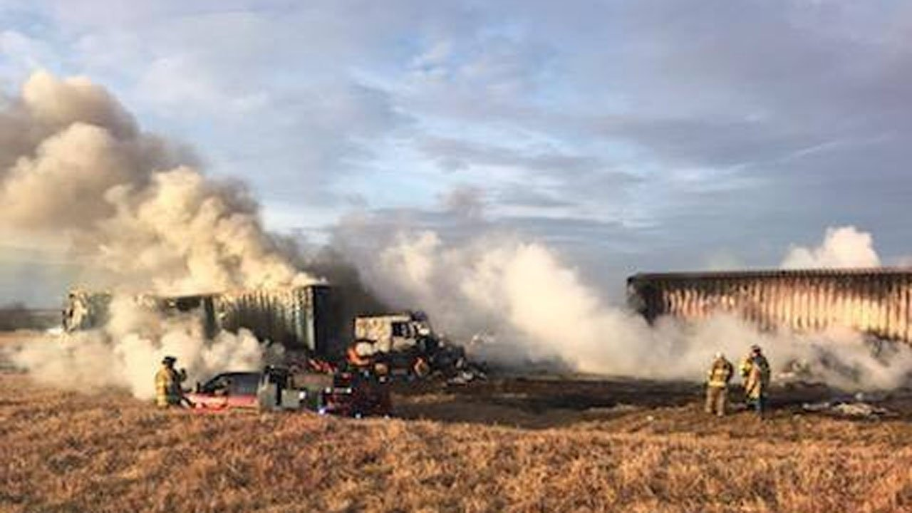 Two trucks were in flames after an accident on Interstate 35 near Pauls Valley on December 3, 2018. (Oklahoma Highway Patrol/Facebook)