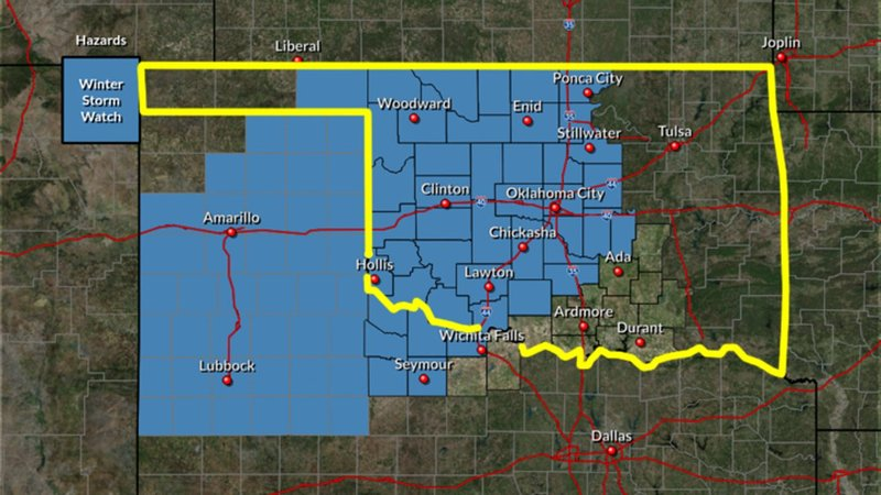 The National Weather Service issued a Winter Storm Watch for a wide area of Oklahoma and the Texas Panhandle from December 6-8. (NWS)