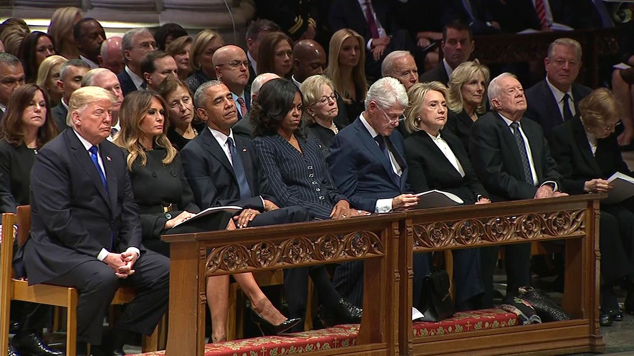 Presidents Trump, Obama, Clinton and Carter and their wives attended the memorial for George H.W. Bush. (CNN/Pool)