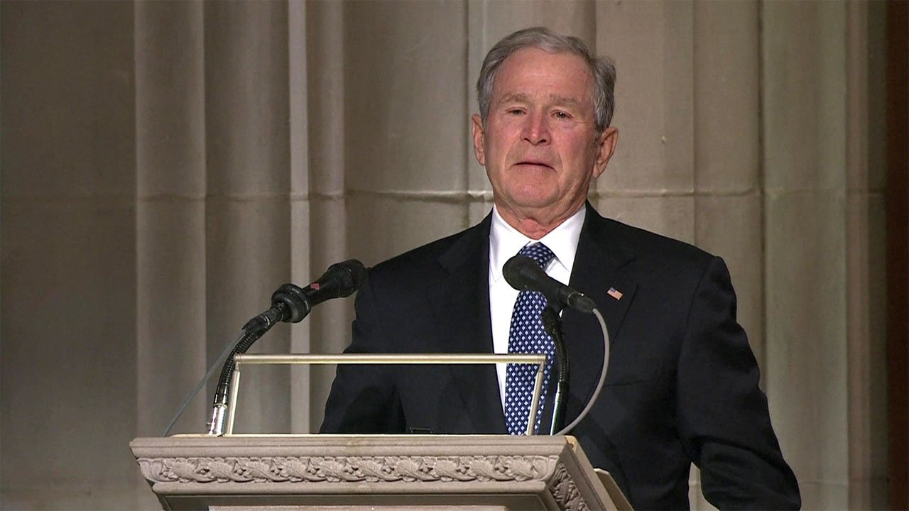 George W. Bush delivered a tearful tribute to his father at the memorial on December 5, 2018. (NBC News/Pool)