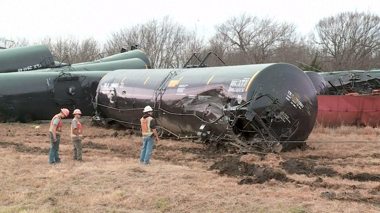 Scene of a freight train derailment north of Kiowa, Oklahoma, on December 16, 2018. (KFOR via NBC News)