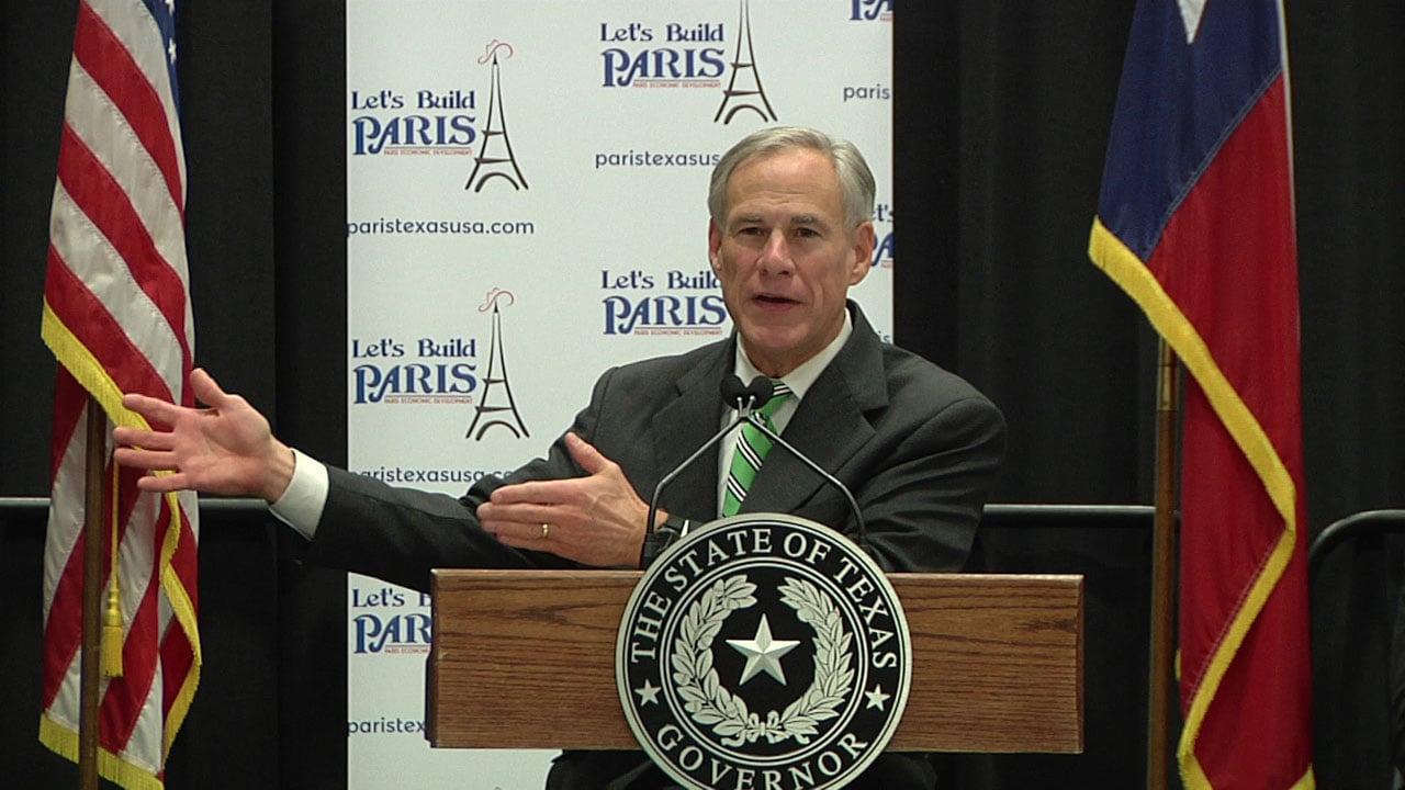 Texas Gov. Greg Abbott speaks at the groundbreaking ceremony for American SpiralWound Pipe in Paris on December 17, 2018. (KTEN)