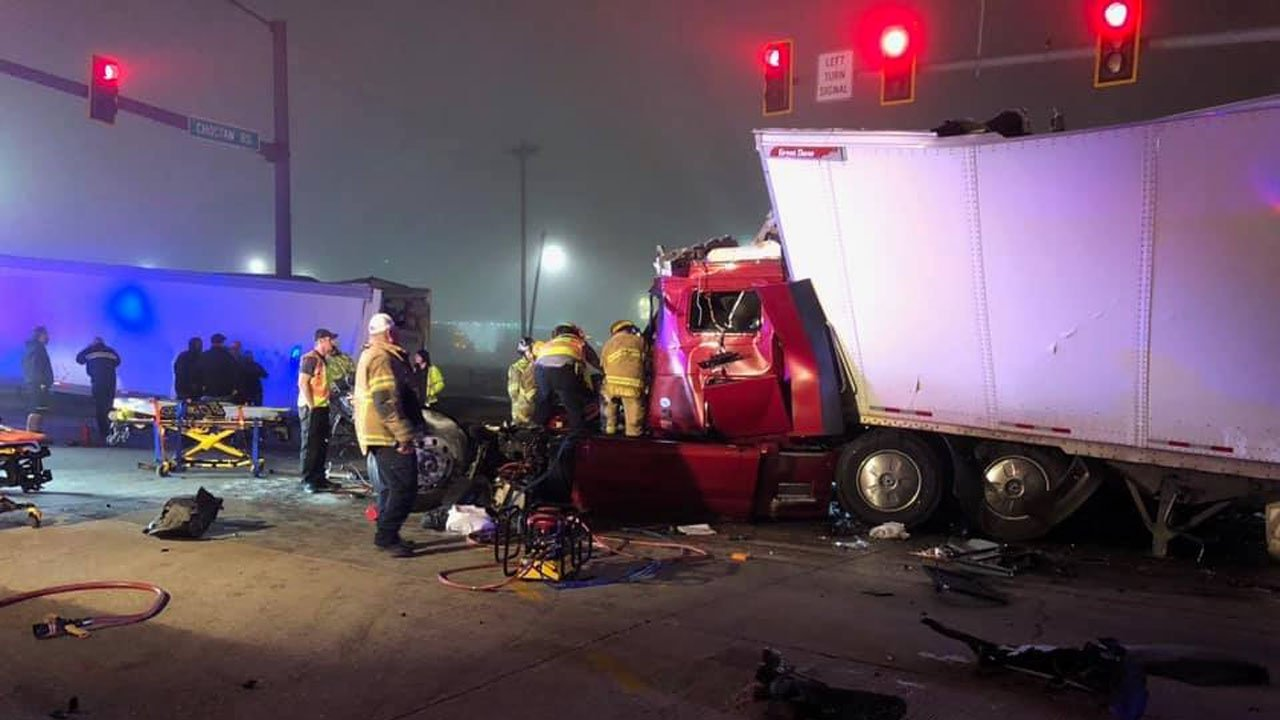 Three trucks were involved in a fatal crash near Choctaw Casino in Durant on December 18, 2018. (Courtesy OHP)