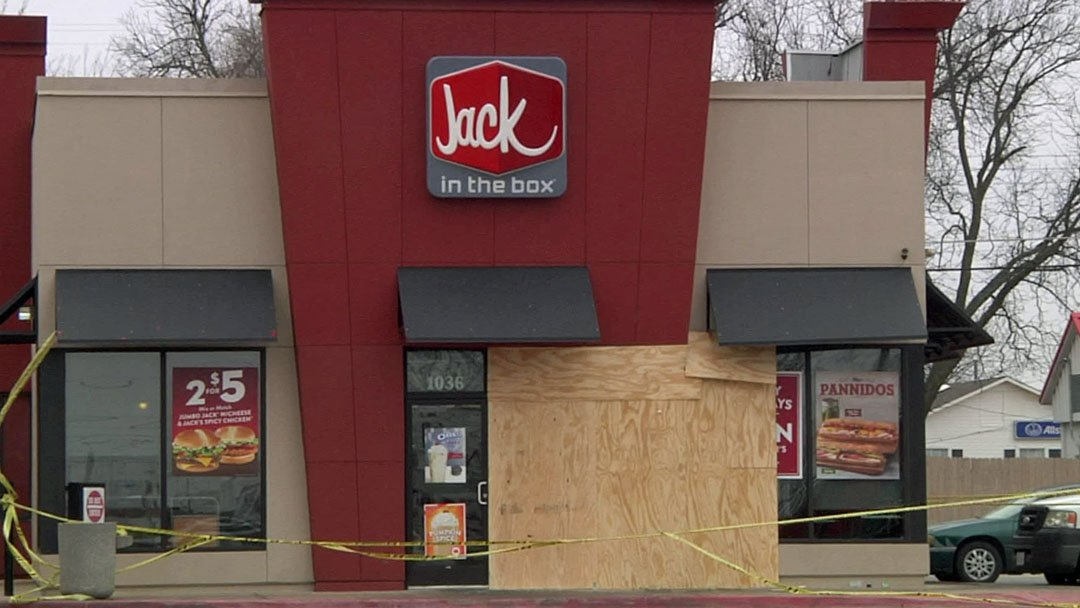 Ardmore's Jack in the Box restaurant was boarded up after a New Year's Eve crash. (KTEN)