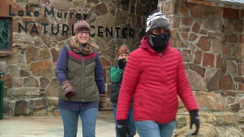 Hikers bundled up for the annual First Day hike at Lake Murray State Park on January 1, 2019. (KTEN)