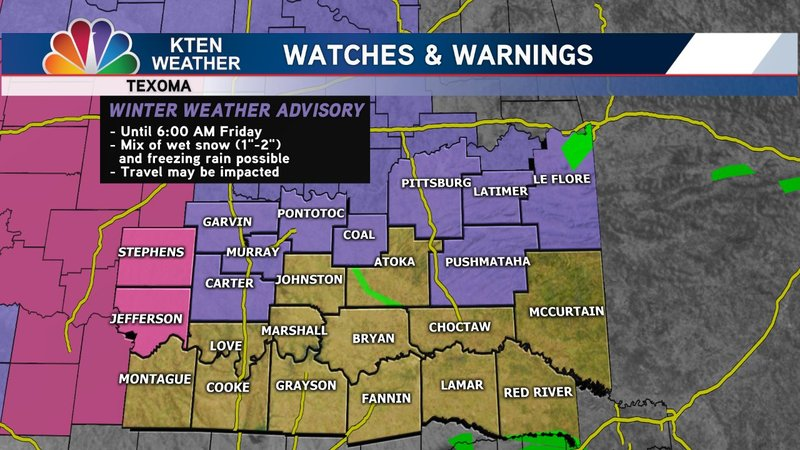 Map details the location for a winter storm advisory across Texoma on January 3, 2019. (KTEN)
