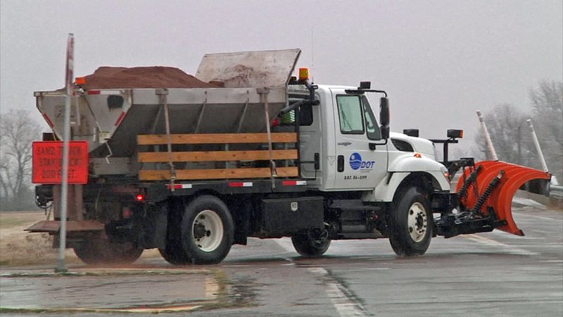 ODOT trucks were out trying to keep Oklahoma highways clear near Pauls Valley. (KTEN)