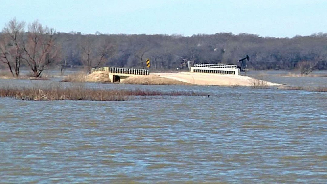 A bridge to nowhere at the flooded Hagerman National Wildlife Refuge. (KTEN)