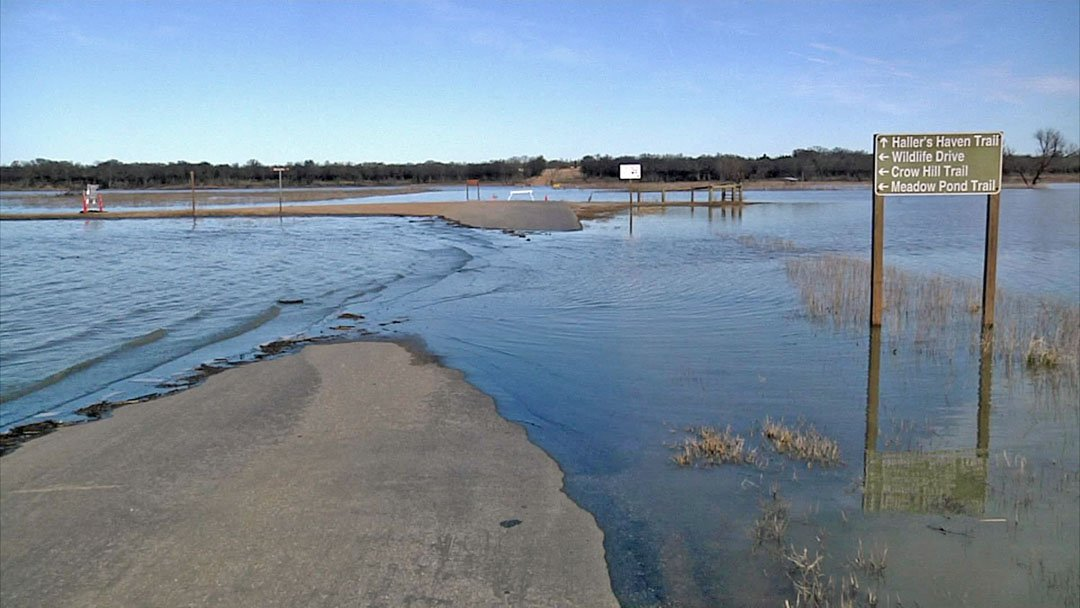 Many roads at the Hagerman National Wildlife Refuge are flooded. (KTEN)