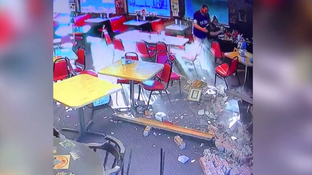 Surveillance video shows the moment of impact when a car crashed into Angie's Circus City Diner in Hugo on January 5, 2019. (Courtesy)