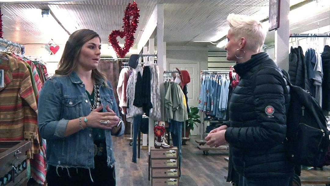 Small Business Revolution host Amanda Brinkman, right, speaks with a Durant shopkeeper on January 16, 2019. (KTEN)