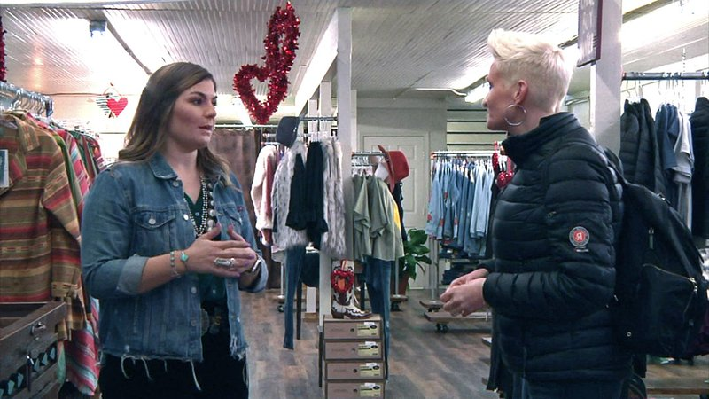 Small Business Revolution host Amanda Brinkman, right, speaks with a Durant shopkeeper on January 16, 2019. (KTEN)