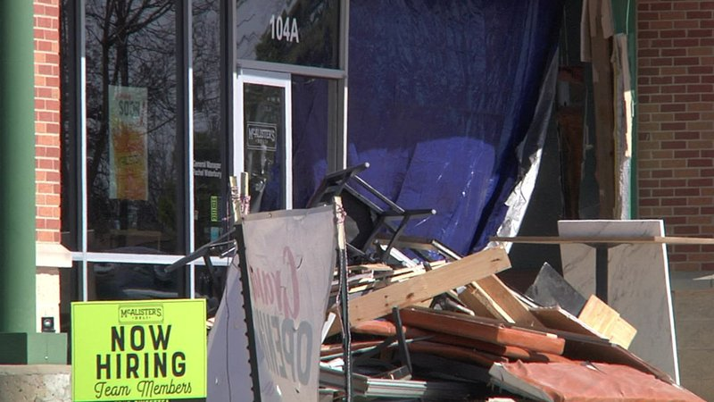 A truck crashed into the front of the new McAlister's Deli in Ardmore on January 29, 2019. (KTEN)