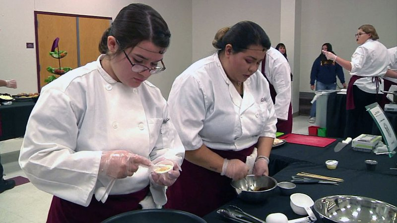 Sherman High School students participate in the Lone Star Chef competition. (KTEN)