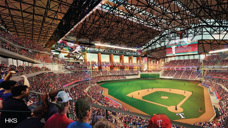 An artist's rendering of Globe Life Field, the new home of the Texas Rangers. (HKS/Texas Rangers)