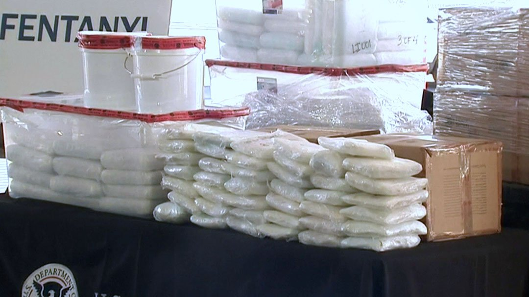 Federal agents display fentanyl which they said was seized from an 18-wheeler at the border in Nogales, Arizona on January 26, 2019. (KVOA via NBC News)