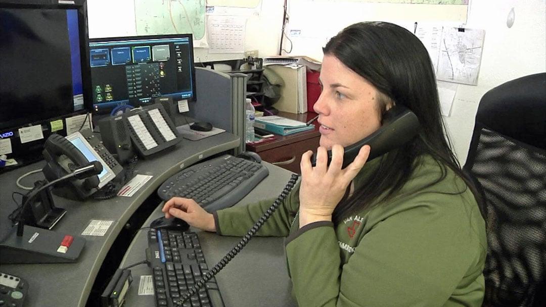 Van Alstyne emergency dispatcher Amanda Brock urges callers to be able to describe their precise location. (KTEN)
