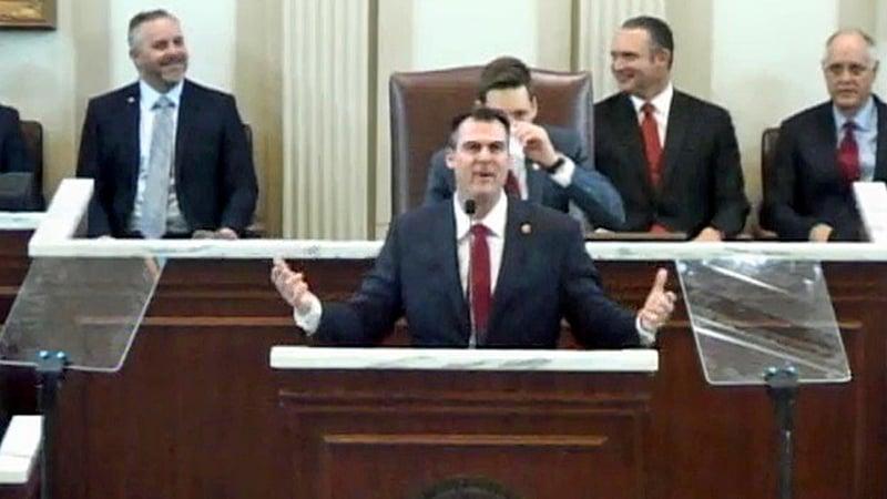 Oklahoma Gov. Kevin Stitt delivers the State of the State address on February 4, 2019. (Oklahoma Legislature)