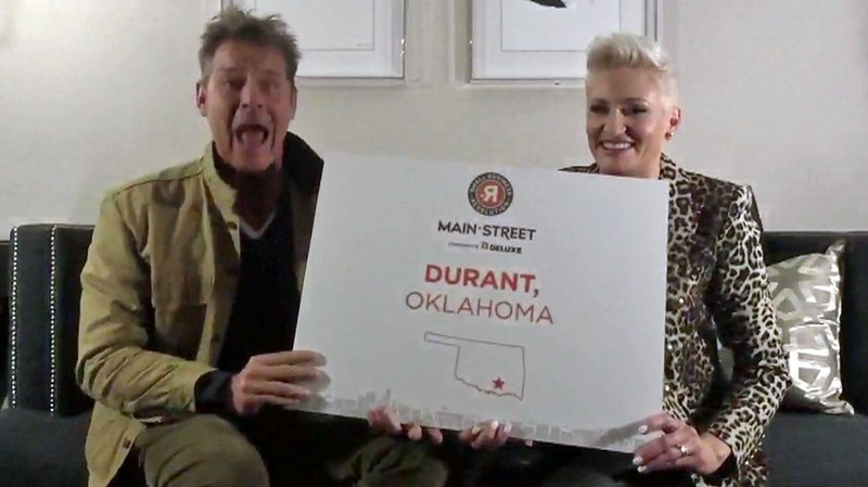 Small Business Revolution co-hosts Ty Pennington and Amanda Brinkman reveal Durant as one of six finalists on February 12, 2019. (Facebook)