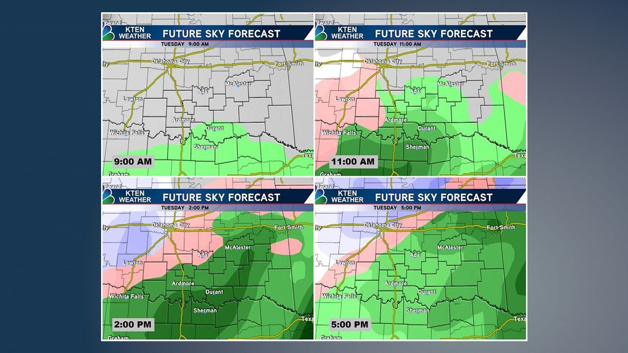 Maps show the forecast progression of wet and icy weather across Texoma on February 19, 2019. (KTEN)