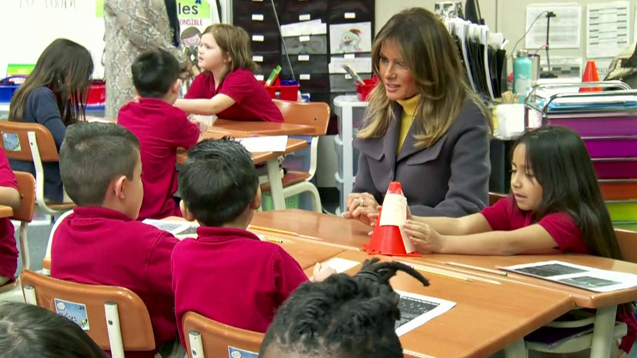 First lady Melania Trump visits with students at the Dove School of Discovery in Tulsa on March 4, 2019. (KJRH via NBC News)