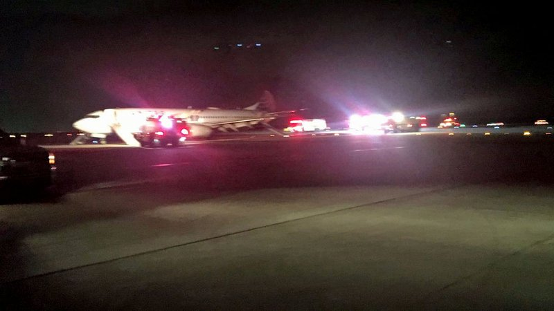 A passenger shared this photo after United Airlines Flight 1168 made an emergency landing at a Houston airport on March 11, 2019. (Edward P. Djerejian/Twitter)