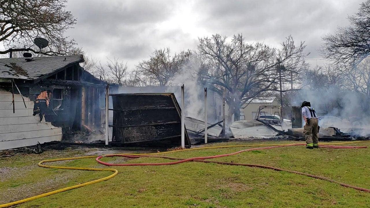 Fire damaged a residence on Erin Drive in Pottsboro on March 11, 2019. (KTEN)