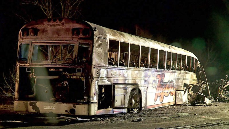 The Konawa High School bus burst into flames after a head-on crash near Bowlegs on March 9, 2019.